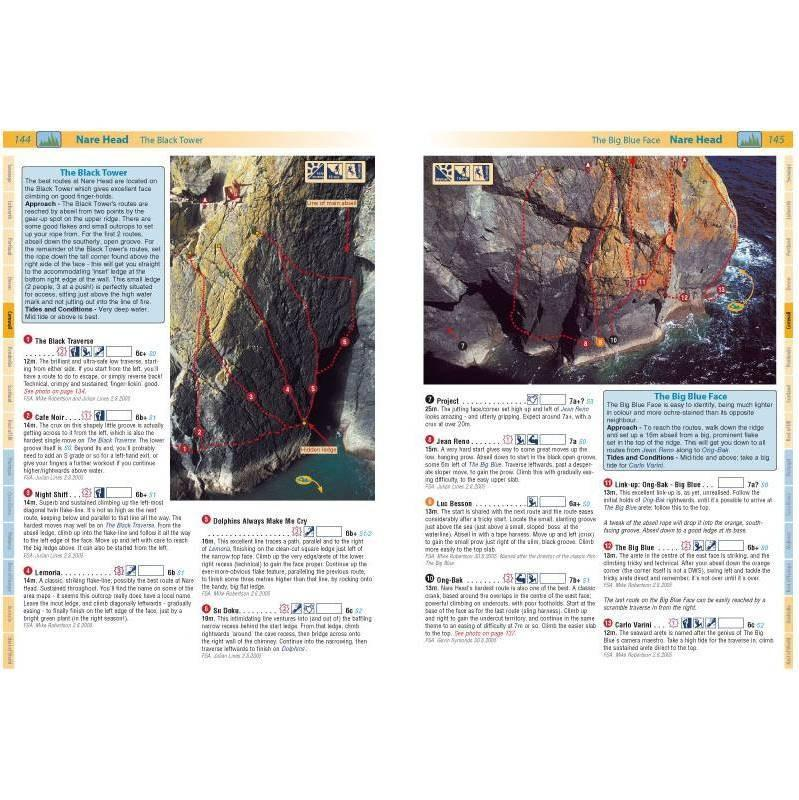 Deep Water guide, inside page examples showing topos and route descriptions