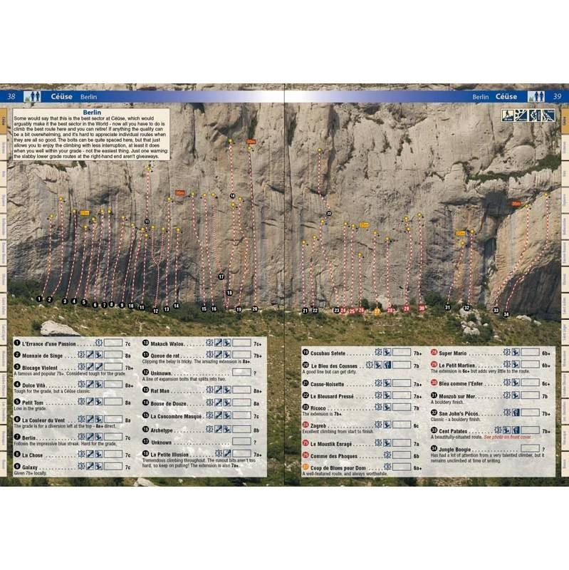 France: Haute Provence, example pages showing topos and route descriptions