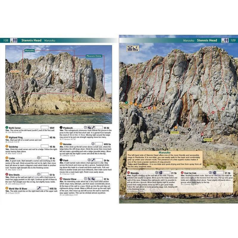 Pembroke Rockfax guide, example inside pages including topos and route descriptions