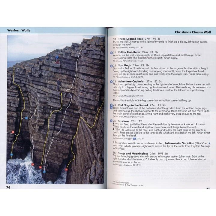 Pembroke Volume 2 guide, example inside pages including photo topos and route descriptions