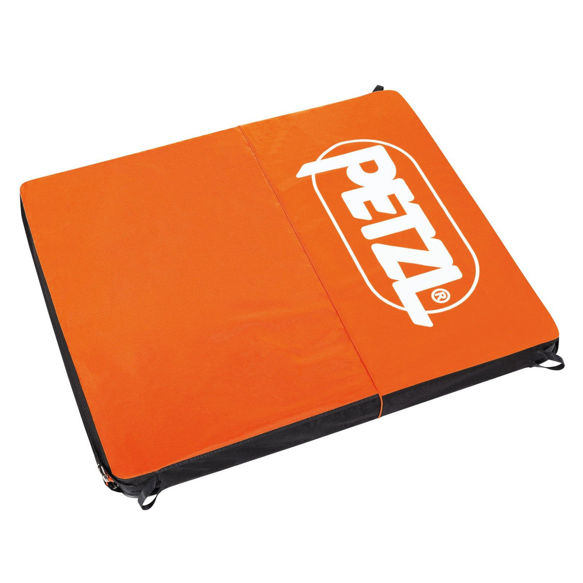Petzl Alto bouldering crash pad, shown open laid flat, in orange colour with white brand logo