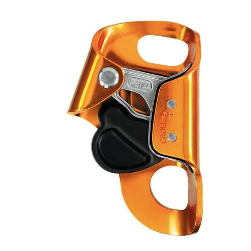 Petzl Croll S Chest Ascender, shown upright in orange and black colours