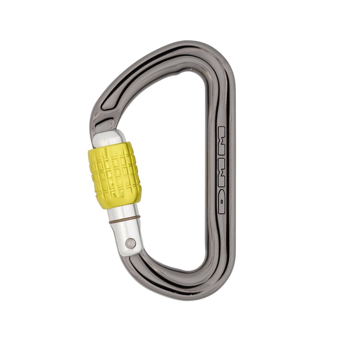 DMM Phantom Screwgate Carabiner, in gun metal grey and yellow screwlock
