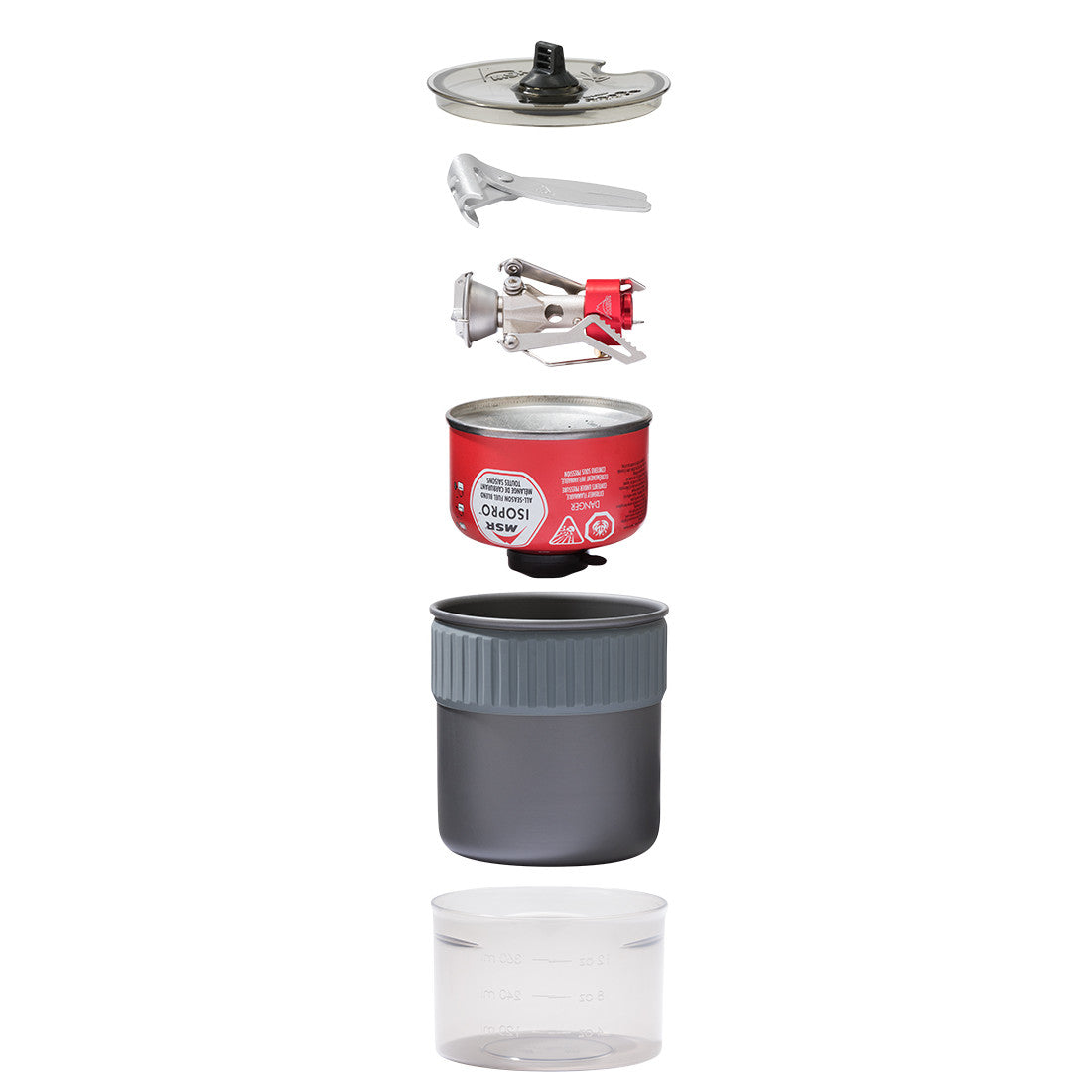 MSR PocketRocket 2 Mini Stove Kit, with contents shown stacked on top of one another