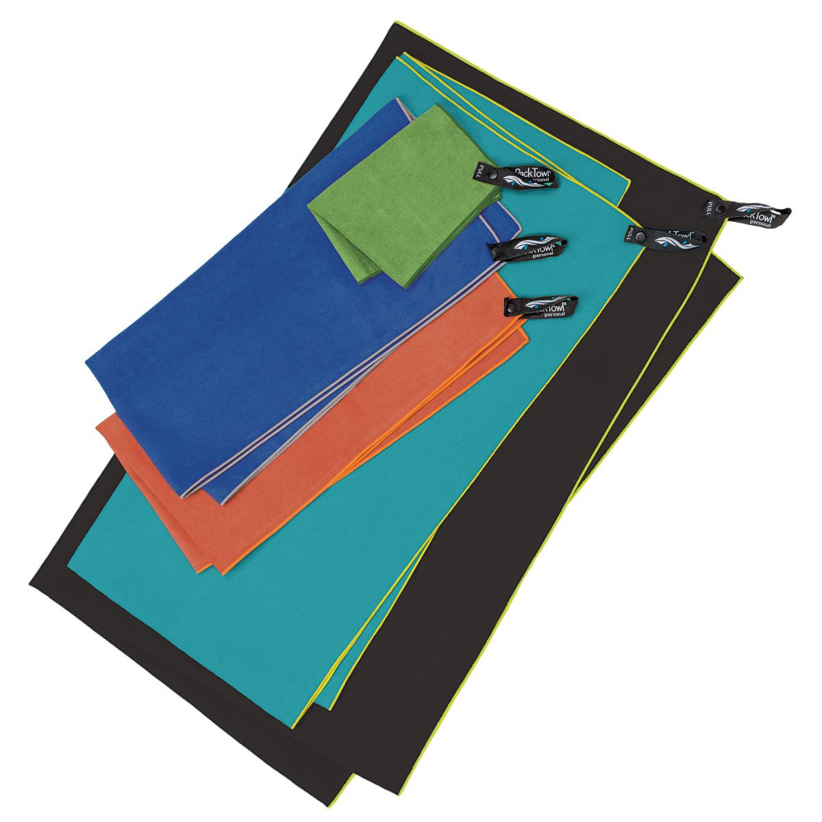 Packtowl Personal travel towels, all sizes and colours shown laid on top of one another