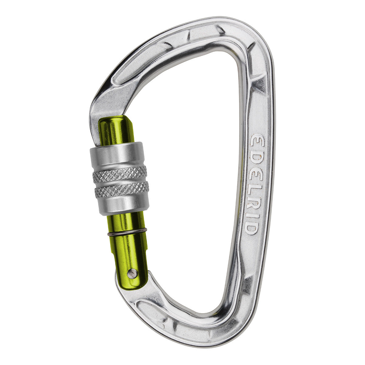 Edelrid Pure Screw screwgate climbing carabiner, in Silver colour with a green screwlock