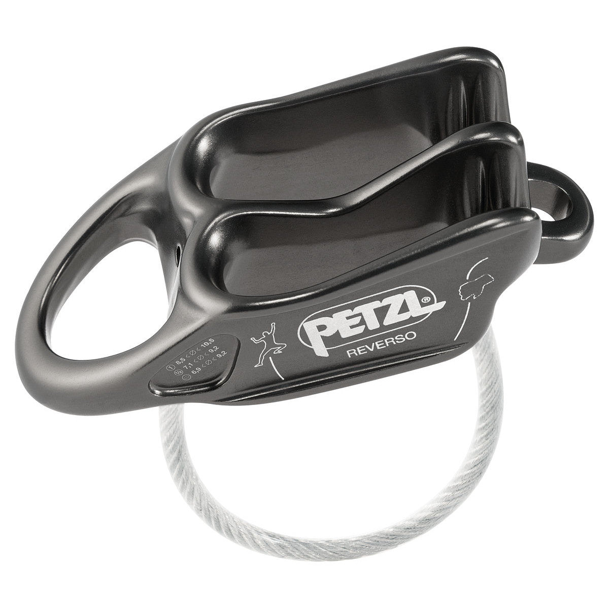 Petzl Reverso belay device, side view shown in grey colour in Grey