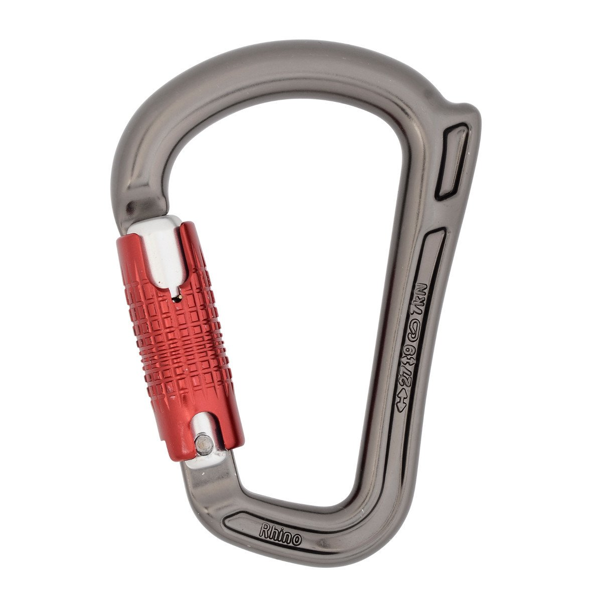 DMM Rhino HMS Quicklock Carabiner, in gun metal grey colour with red twistlock