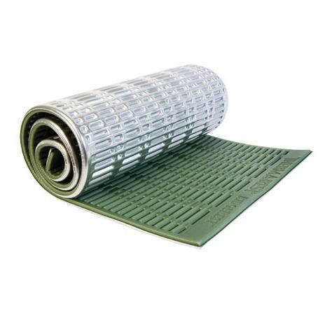 TThermarest RidgeRest SOLite Regular camping mat, shown rolled up in silver and green colours
