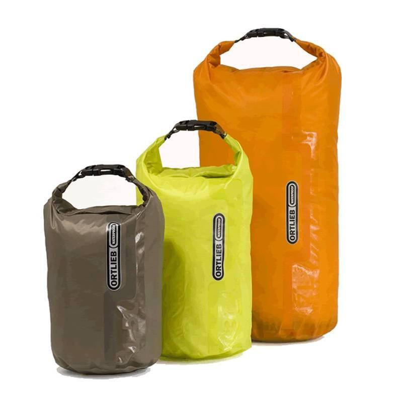 Ortlieb Ultra Lightweight Dry Bag range in three sizes and 3 different colours