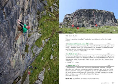 Rock Climbing in Ireland guide, example inside pages showing topos and route descriptions