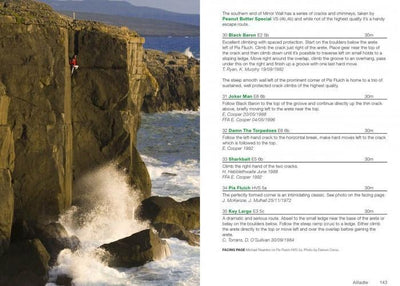 Rock Climbing in Ireland guide, example inside pages showing photos and topos