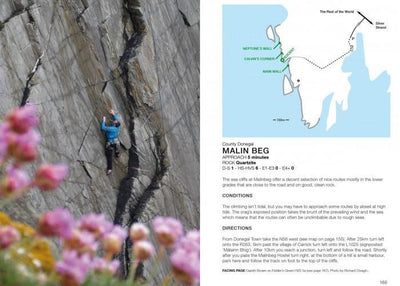 Rock Climbing in Ireland guide, example inside pages showing photos and maps