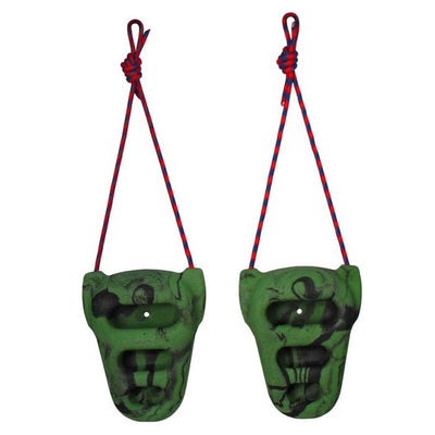 Pair of Metolius Rock Rings, shown hanging from red cord, in green/black colours