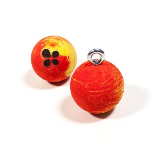 Lapis Rollyballs (Small) shown side by side, in red and yellow colours