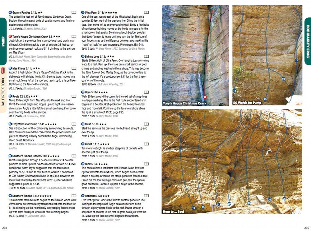 Red River Gorge: South guide, example pages inside showing topos and route desriptions