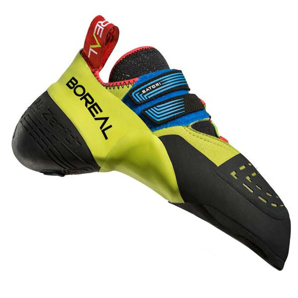 Boreal Satori climbing shoe in Green, Red and blue colours as seen from the side.
