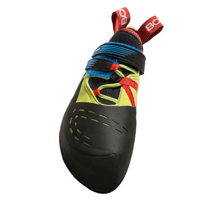 Boreal Satori climbing shoe, view from above showing velcro strapping detail