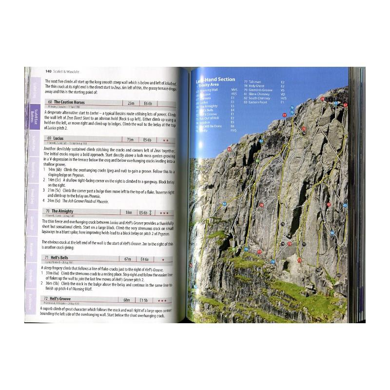 Scafell and Wasdale guide, example inside pages showing photos and route descriptions