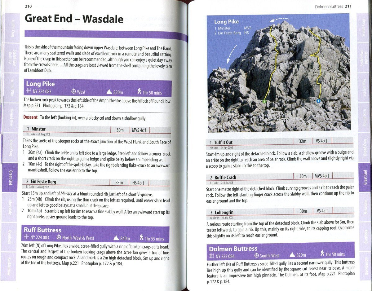 Scafell and Wasdale guide, example inside pages showing photo topos