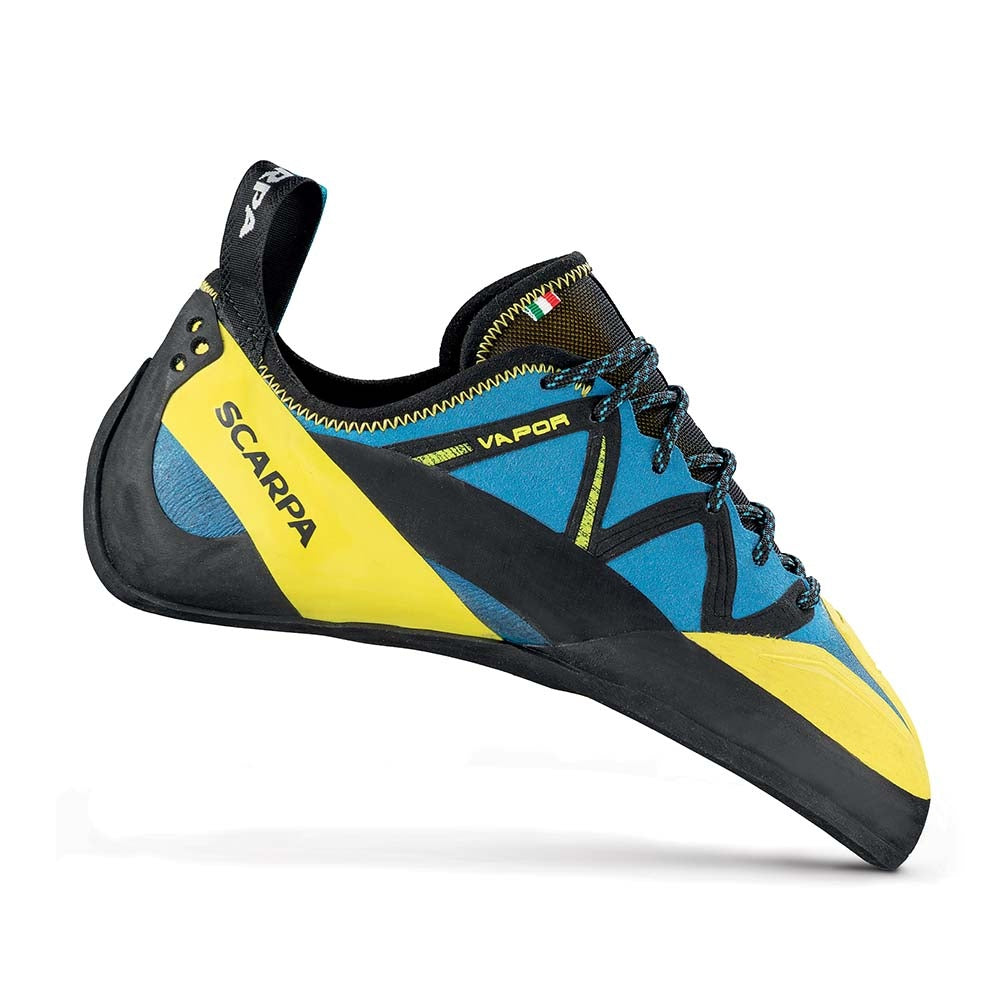 Scarpa Vapour Lace climbing shoe in blue and yellow