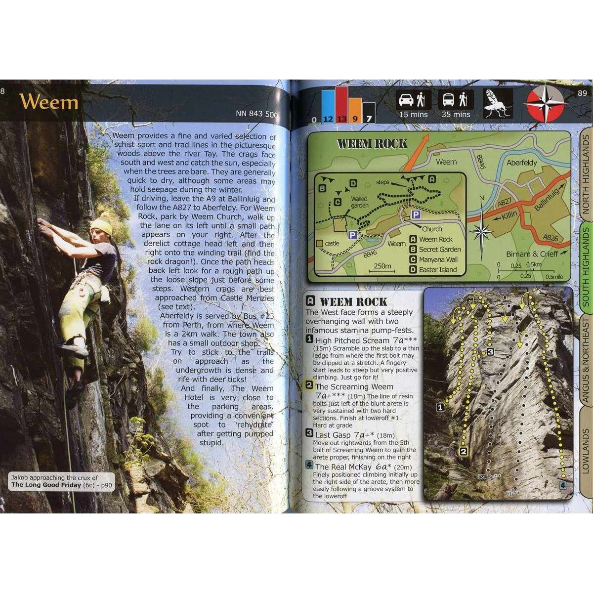 7a Max: Scottish Sport guide, example inside pages showing maps, photos and topos