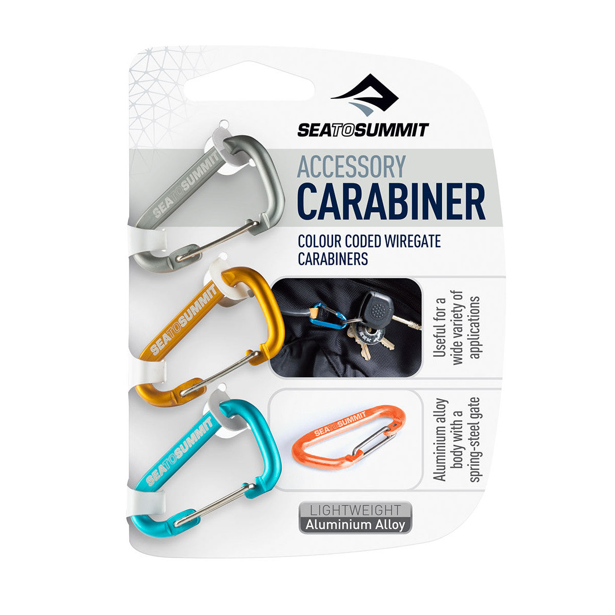 The Sea to Summit Accessory Carabiners are perfect for keeping keys together, attaching things to your pack, hanging a lantern in your tent, and many other uses.