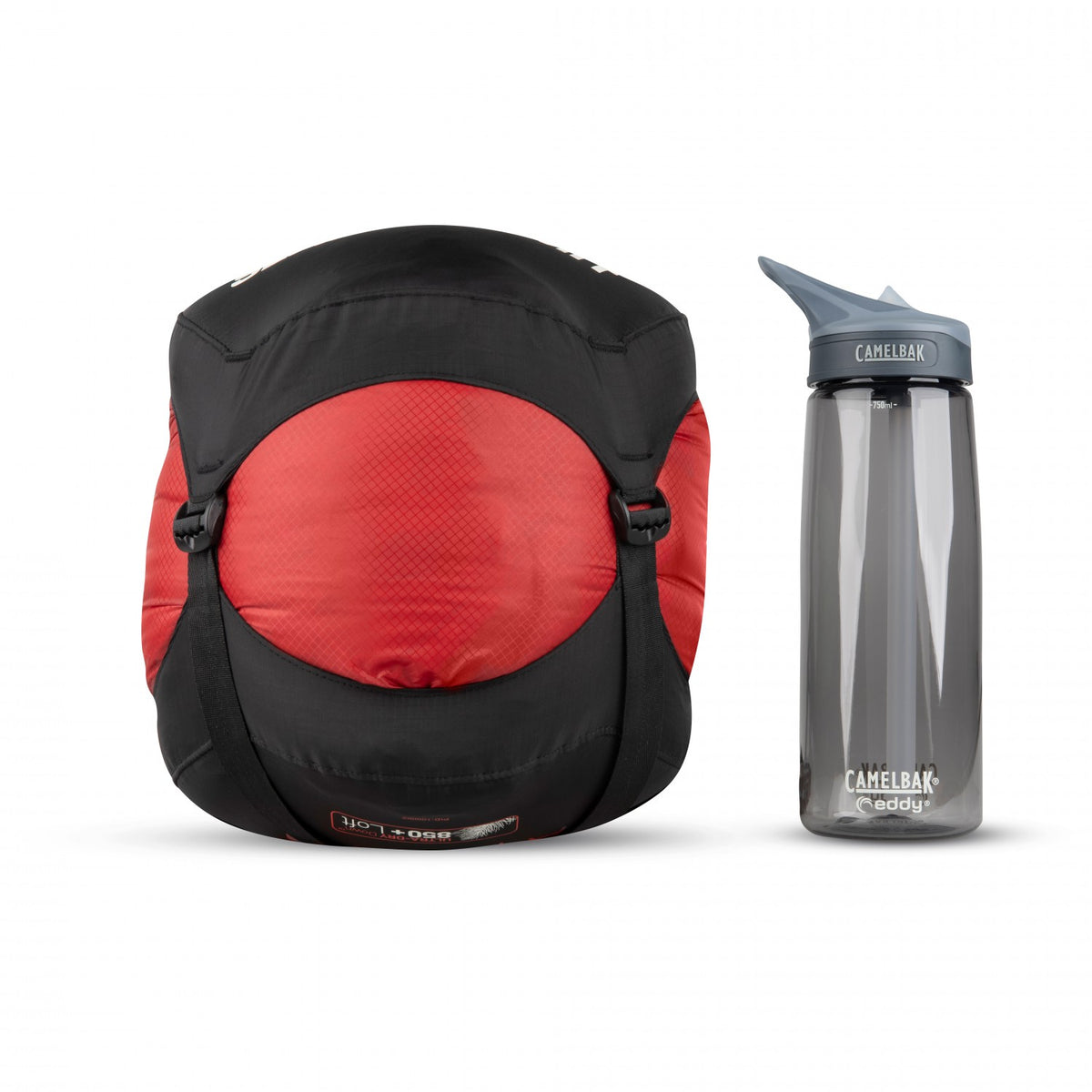 Sea to Summit Alpine II sleeping bag shown in carry case next to water bottle for size