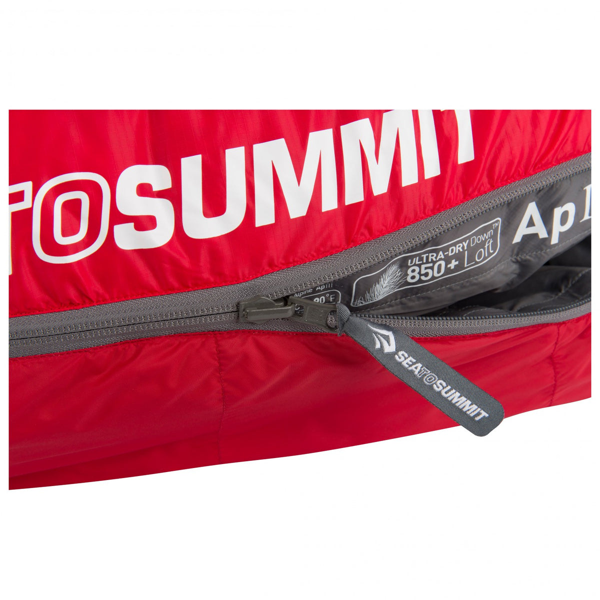 Sea to Summit Alpine III sleeping bag showing logo and zip design detail