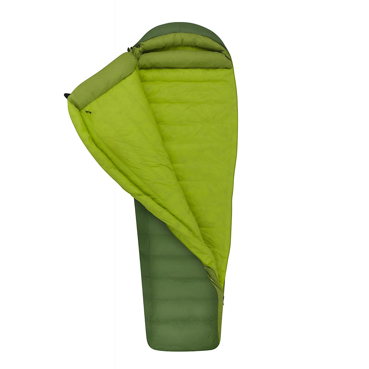 Sea to Summit Ascent III sleeping bag, shown 3/4 open with lime green lining