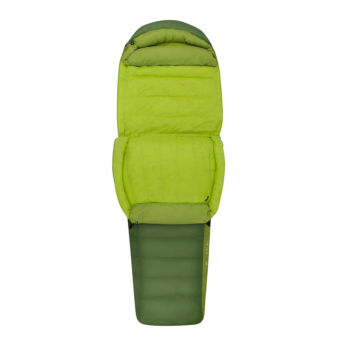 Sea to Summit Ascent III sleeping bag shown half open and folded down
