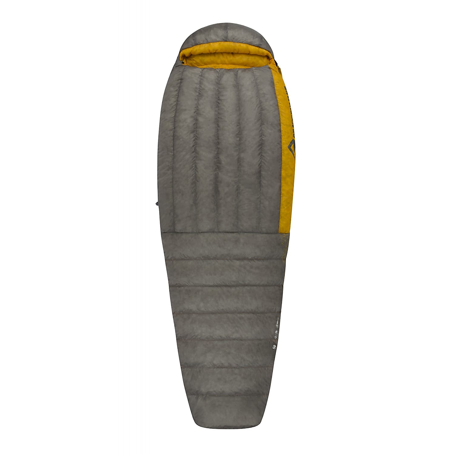 Sea to Summit Spark II Long sleeping bag shown fully closed and laid flat in grey and yellow colour