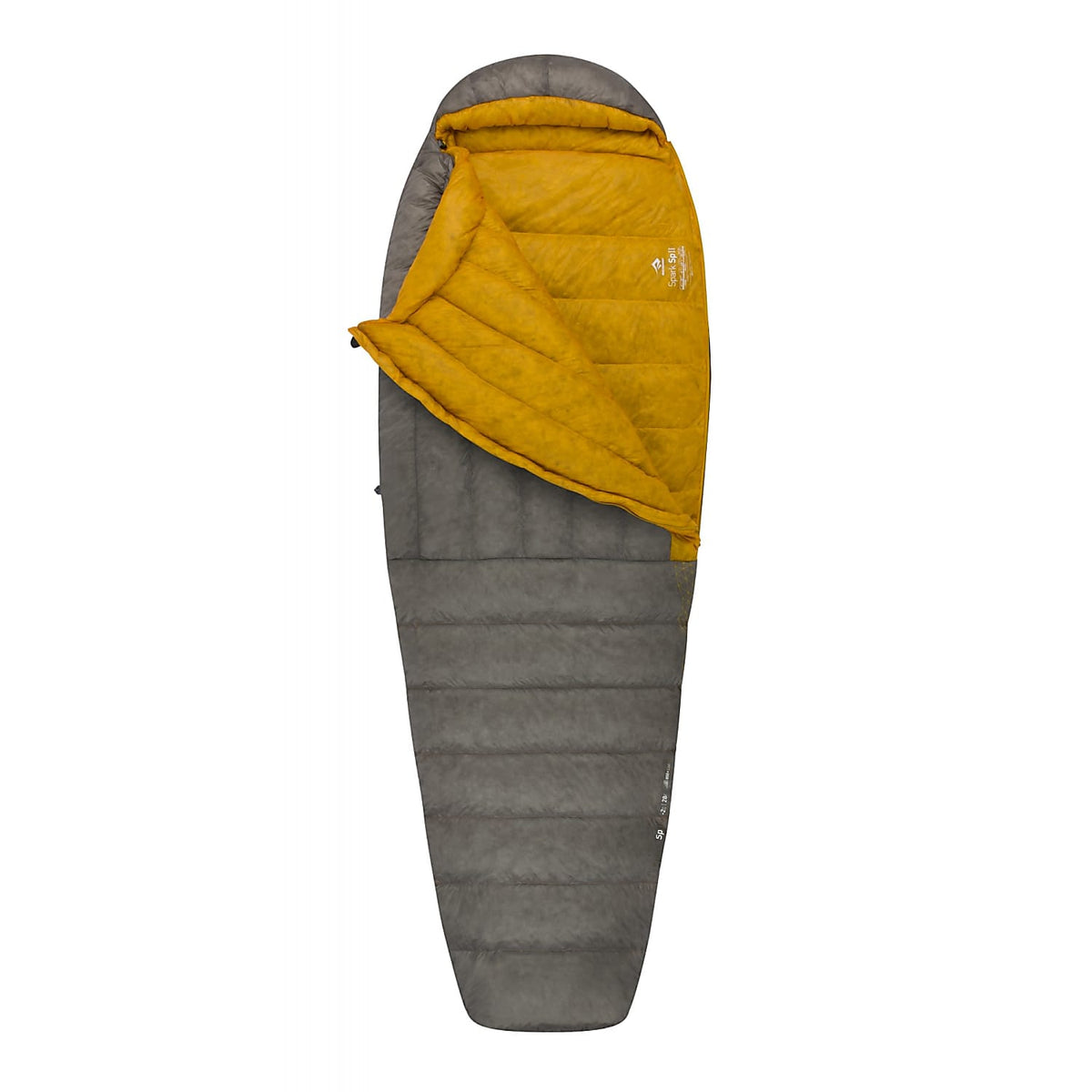 Sea to Summit Spark II sleeping bag shown partially open