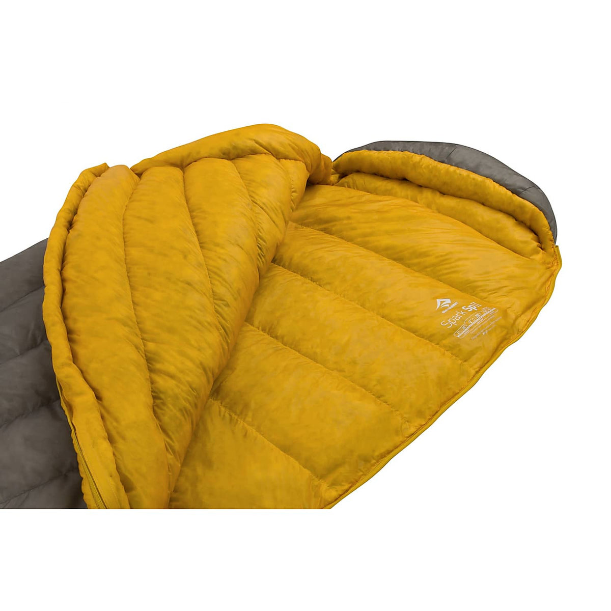 Sea to Summit Spark II sleeping bag, shown 3/4 open with yellow lining