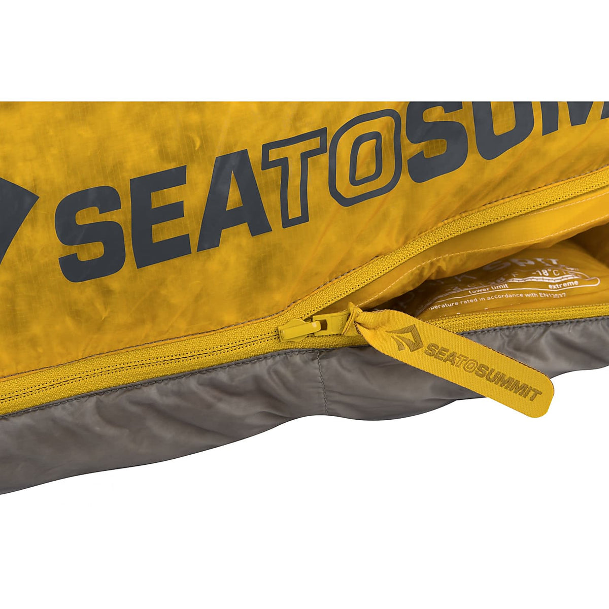 Sea to Summit Spark II sleeping bag showing zip and logo design detail