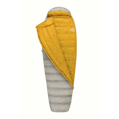 Sea to Summit Spark III sleeping bag, shown 3/4 open with yellow lining