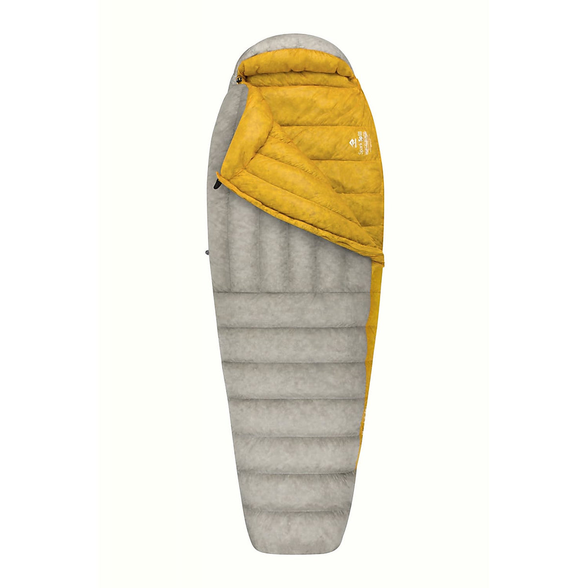 Sea to Summit Spark III sleeping bag shown partially open