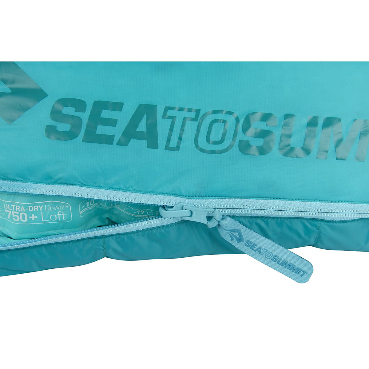 Sea to Summit Altitude II Women's sleeping bag, logo and zip design detail