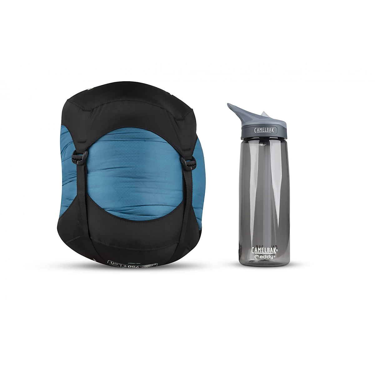 Sea to Summit Altitude II Women's sleeping bag shown in stuff sack next to water bottle for size