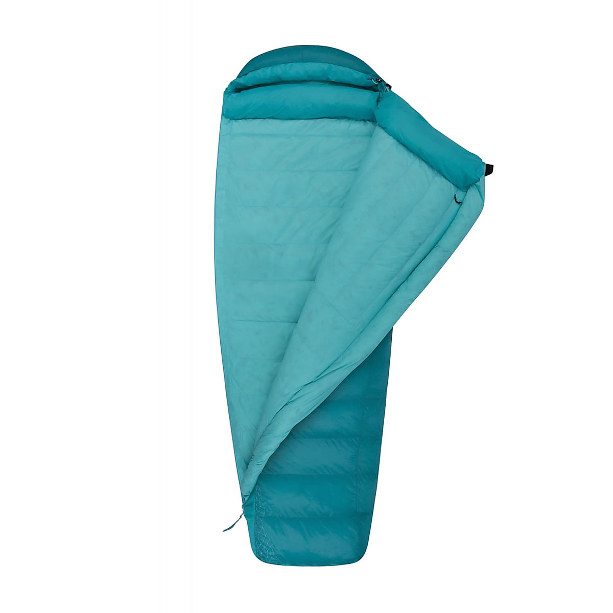 Sea to Summit Altitude II Women's sleeping bag shown 3/4 open with light blue lining