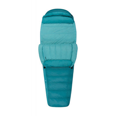 Sea to Summit Altitude II Women's sleeping bag, shown partially open and folded down