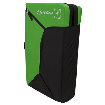 Metolius Session II crash pad, shown closed and stood upright in black and green