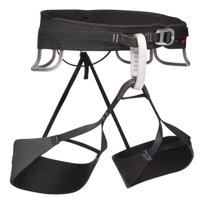 Black Diamond Solution Guide climbing harness, front/side view in black/white colours
