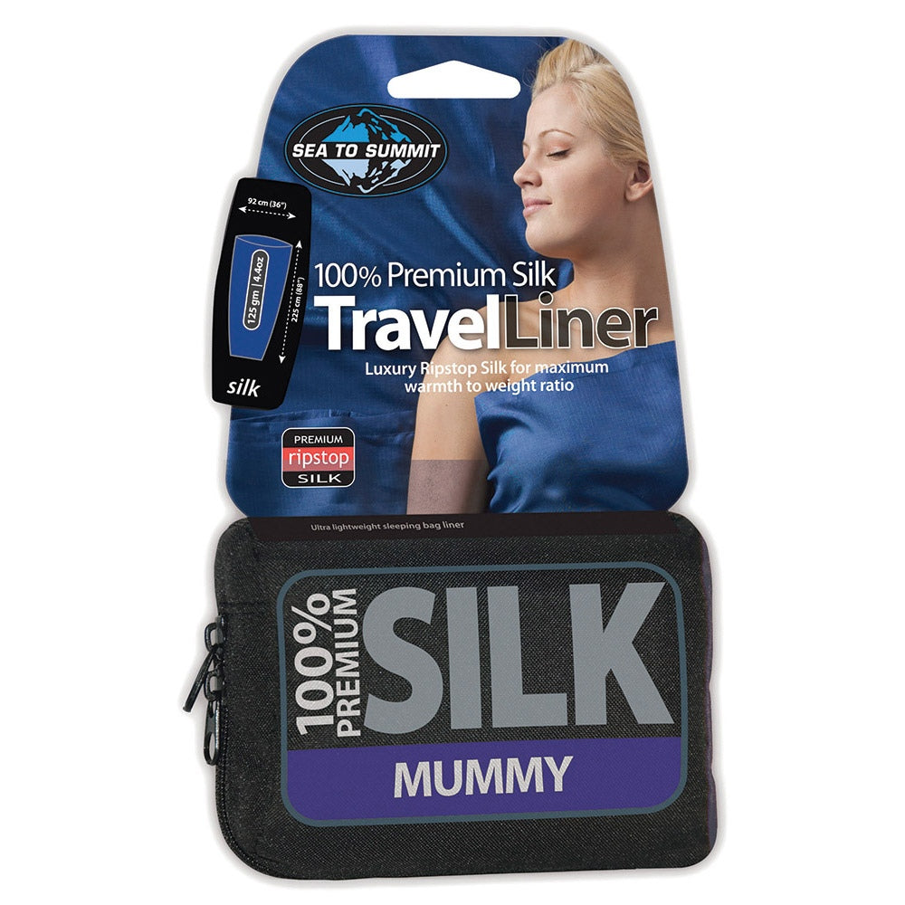 Sea to Summit Silk Stretch Mummy Liner shown in stuff sack with packaging