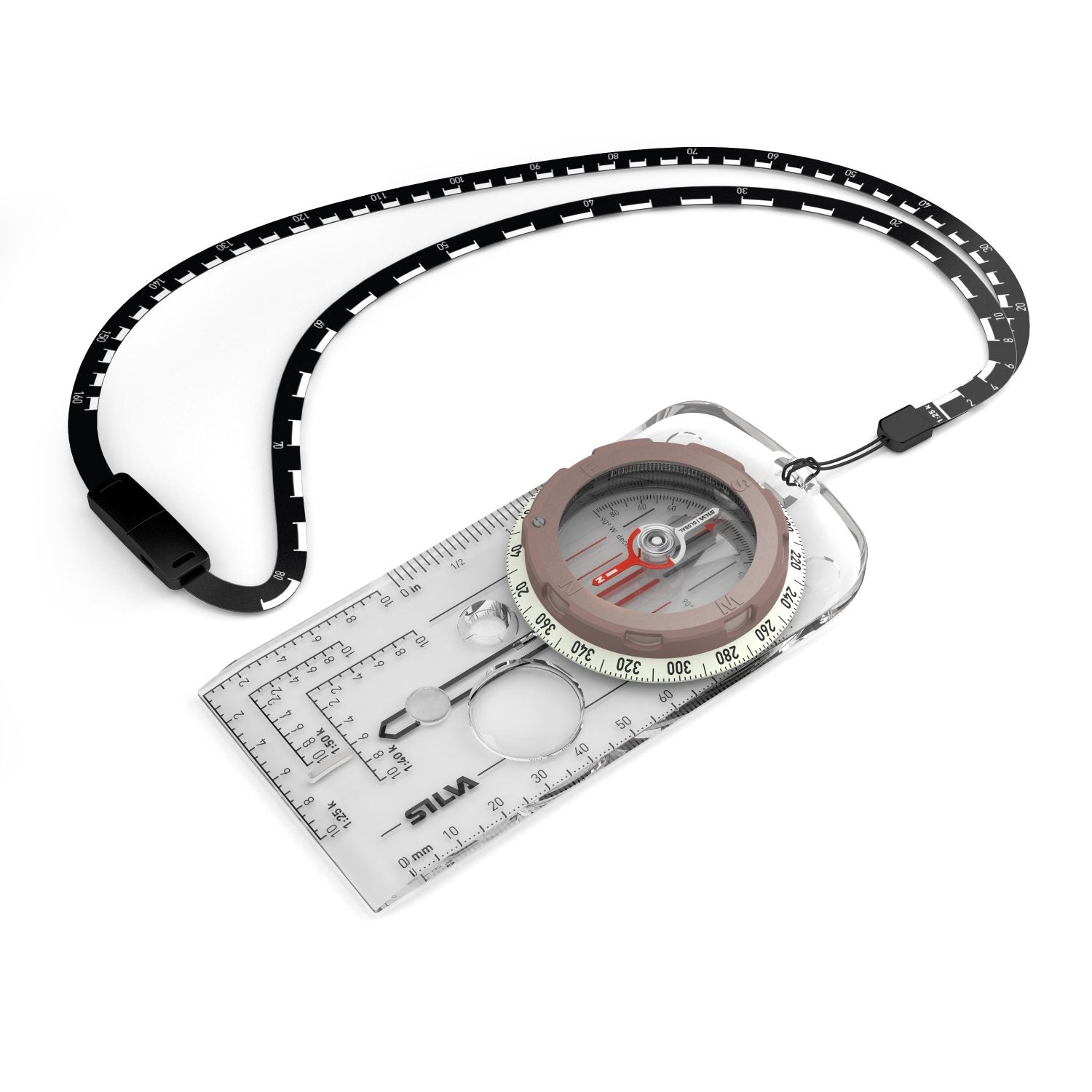 Silva Expedition 360 Global compass shown with lanyard