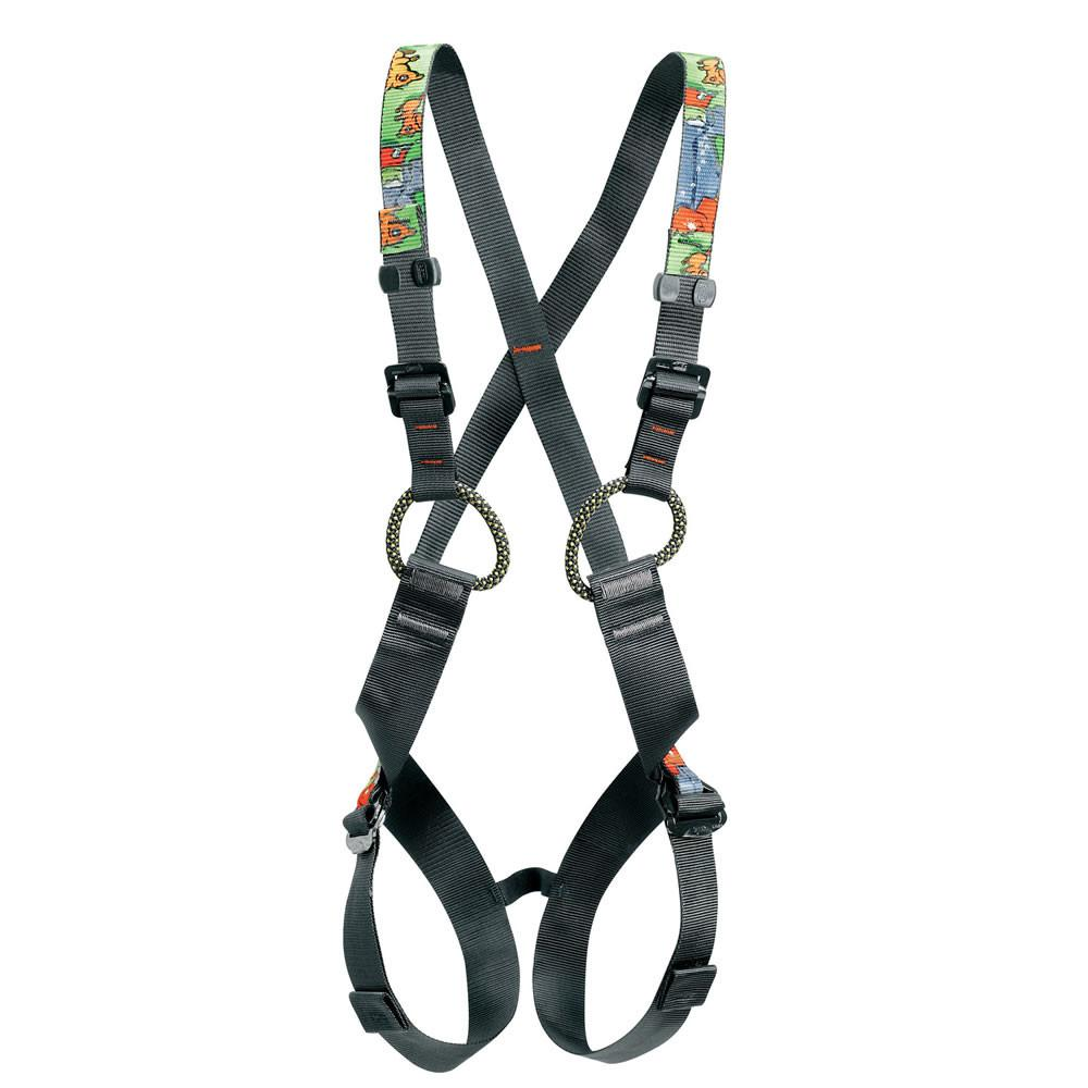 Petzl Simba kids harness, front view, in black and yellow colours