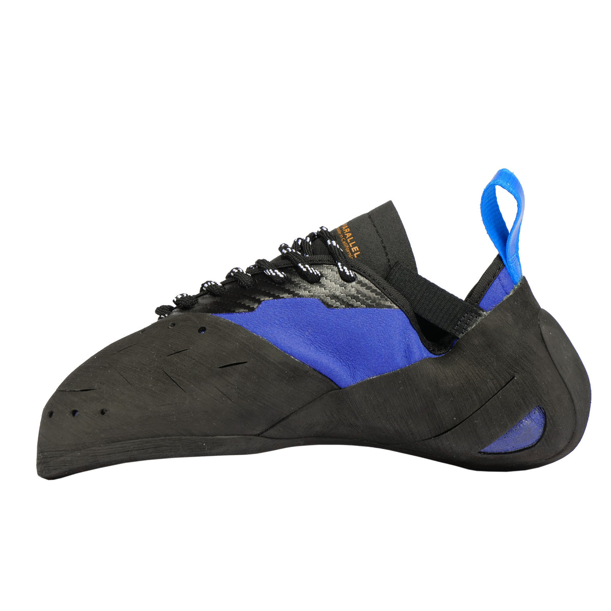 Inner side view of the Unparallel Sirius Lace climbing shoe showing the ribbed lacing system