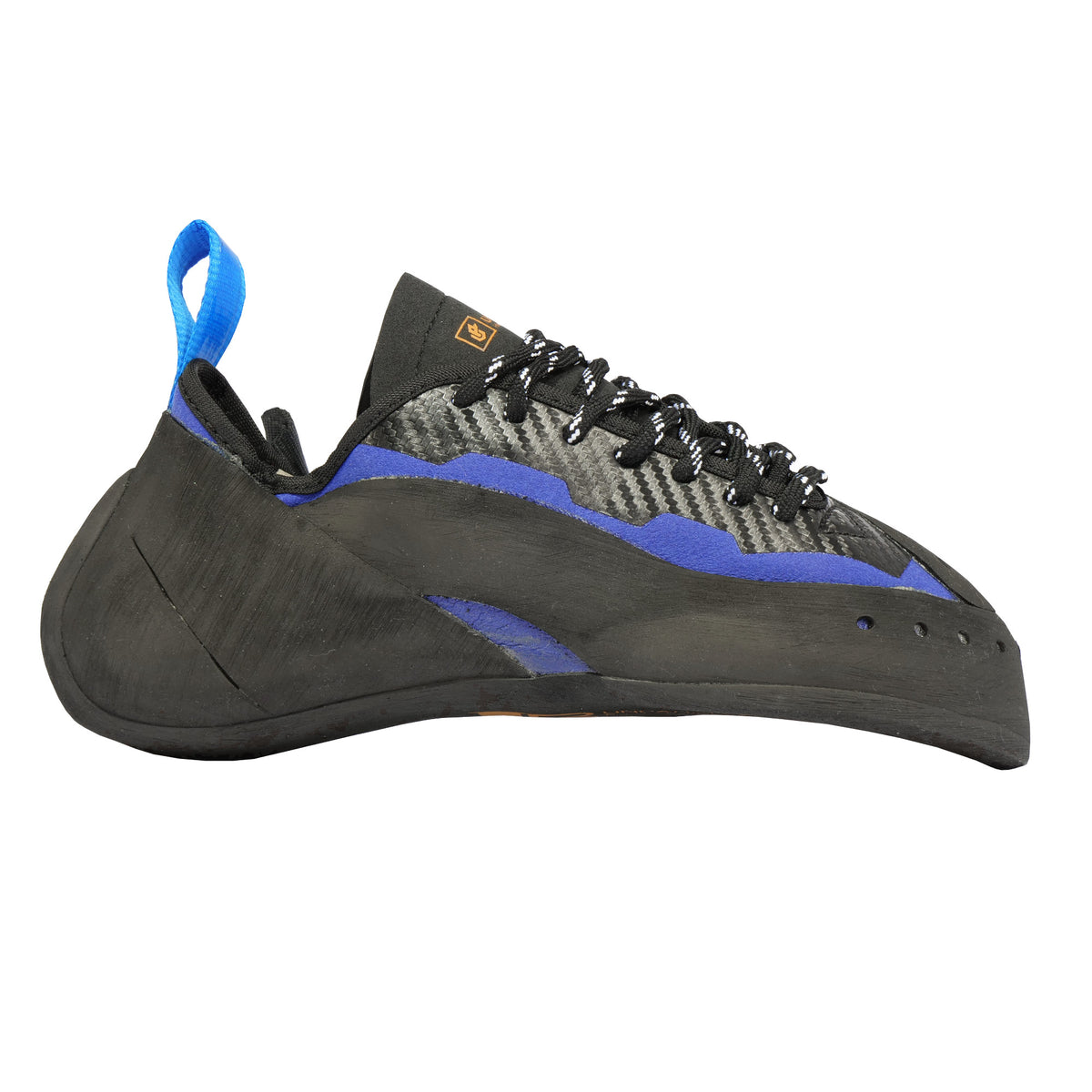 Unparallel Sirius Lace climbing shoe, outer side view in black/blue colours