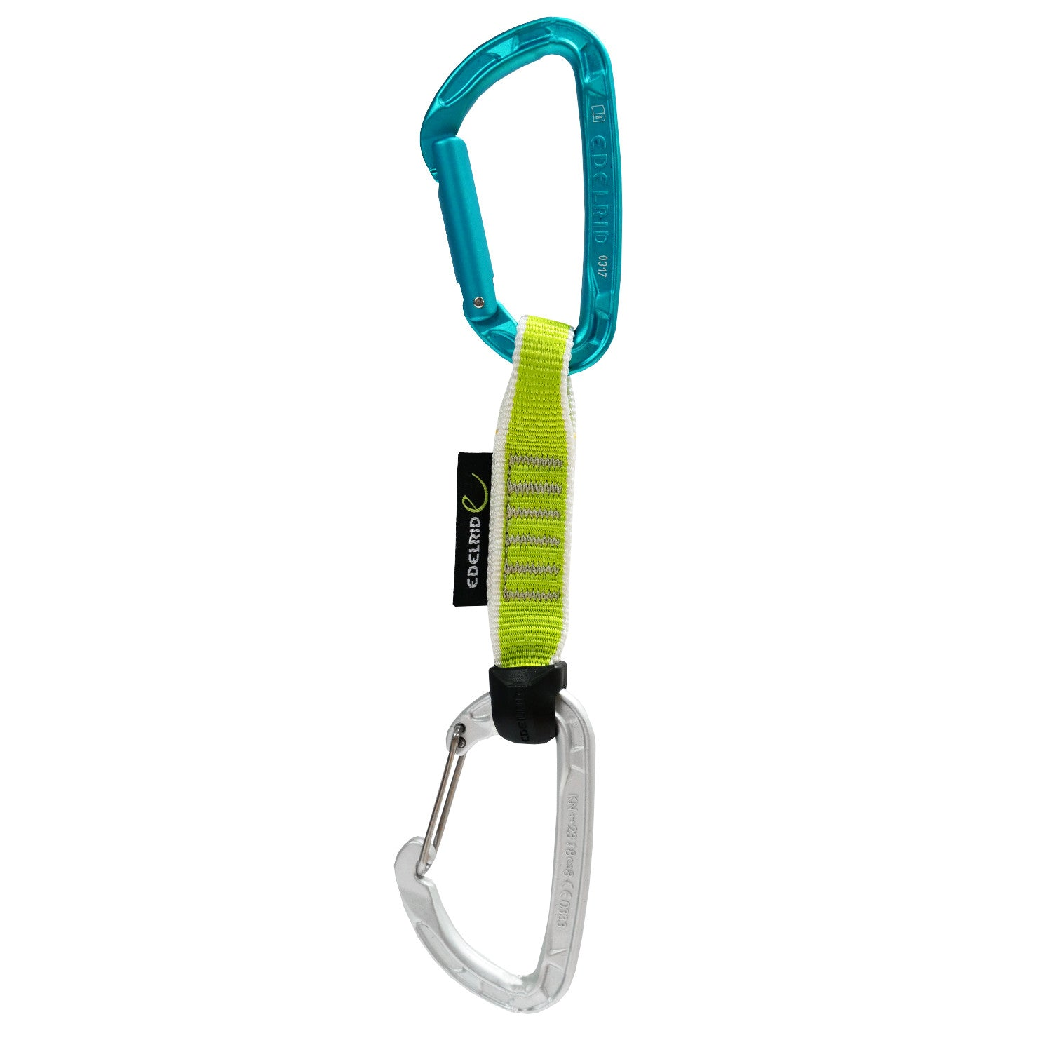 Edelrid Pure Slim Wire 12cm Quickdraw front view showing a turquoise solid gate carabiner and a grey wire gate carabiner joined by a 12cm Green sling