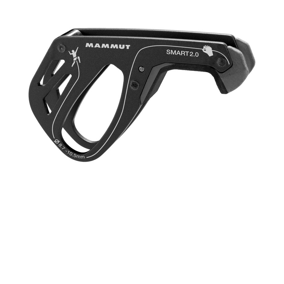 Mammut Smart 2.0 Belay Device, shown side on in Black colour